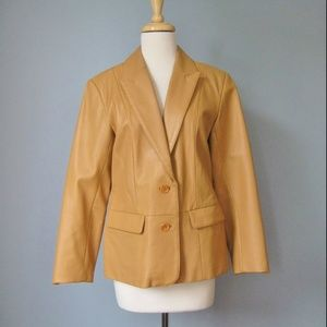 Vintage Leather Blazer Tan 80s Pockets